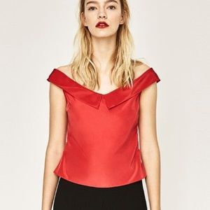 ZARA Collection TOP WIDE DECOLE Red